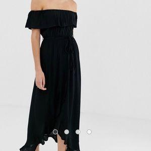 asos off the shoulder midi dress